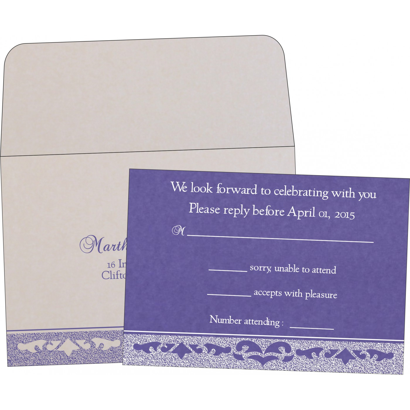 RSVP Cards : CRSVP-8227E - IndianWeddingCards