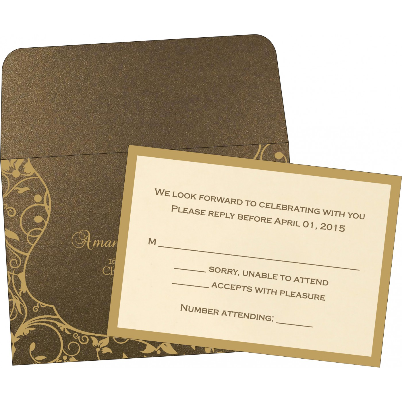 RSVP Cards : CRSVP-8229C - IndianWeddingCards