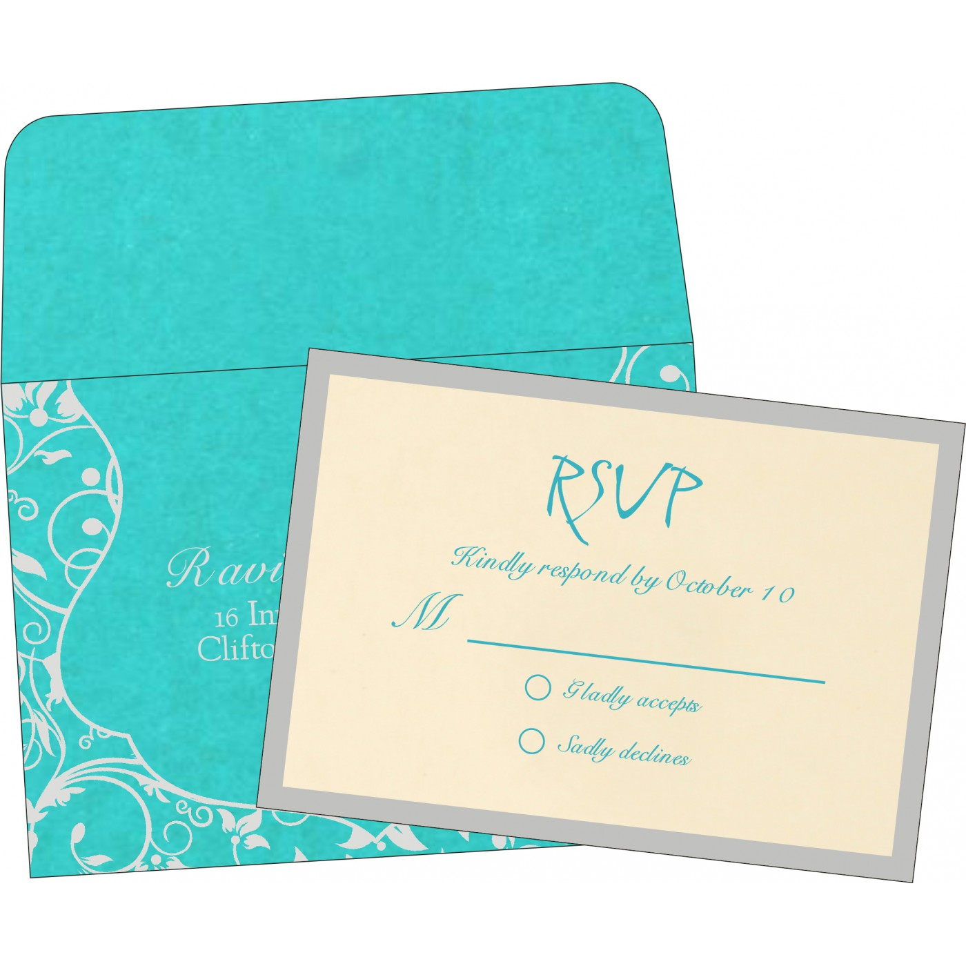 RSVP Cards : CRSVP-8229M - IndianWeddingCards