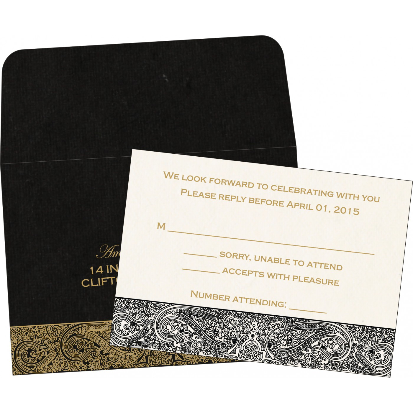 RSVP Cards : CRSVP-8234A - IndianWeddingCards