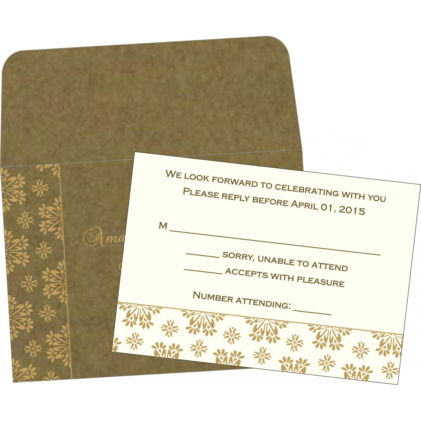 RSVP Cards : CRSVP-8237E - IndianWeddingCards