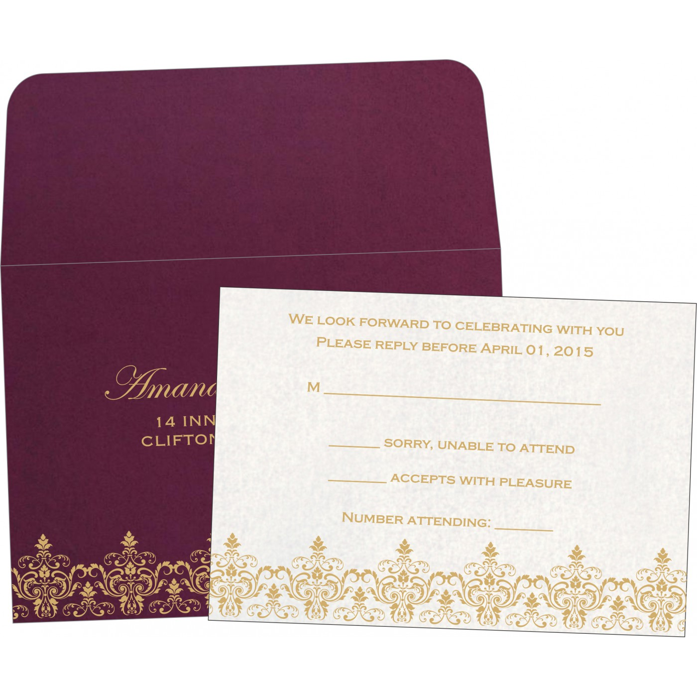 RSVP Cards : CRSVP-8244H - IndianWeddingCards