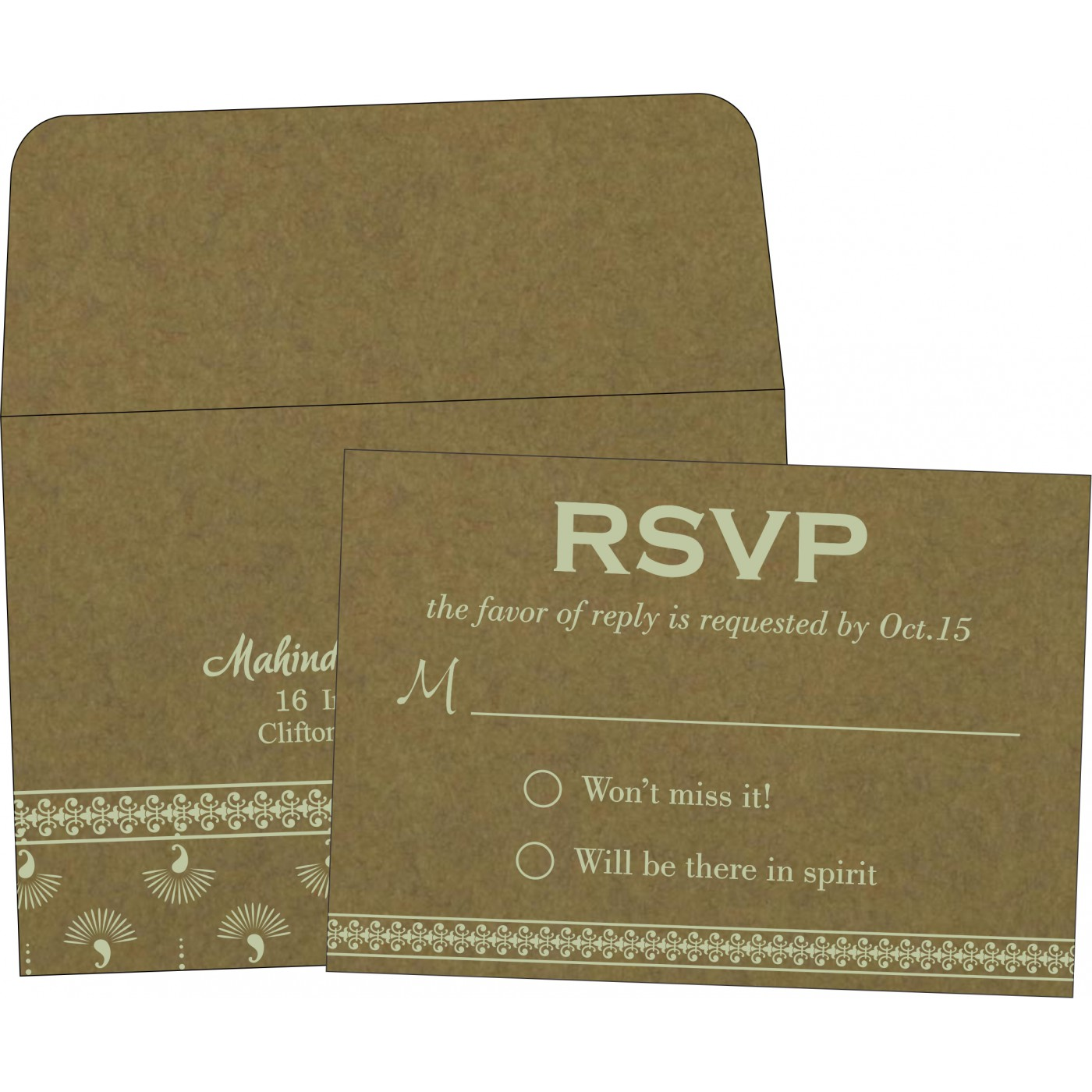 RSVP Cards : CRSVP-8247E - IndianWeddingCards