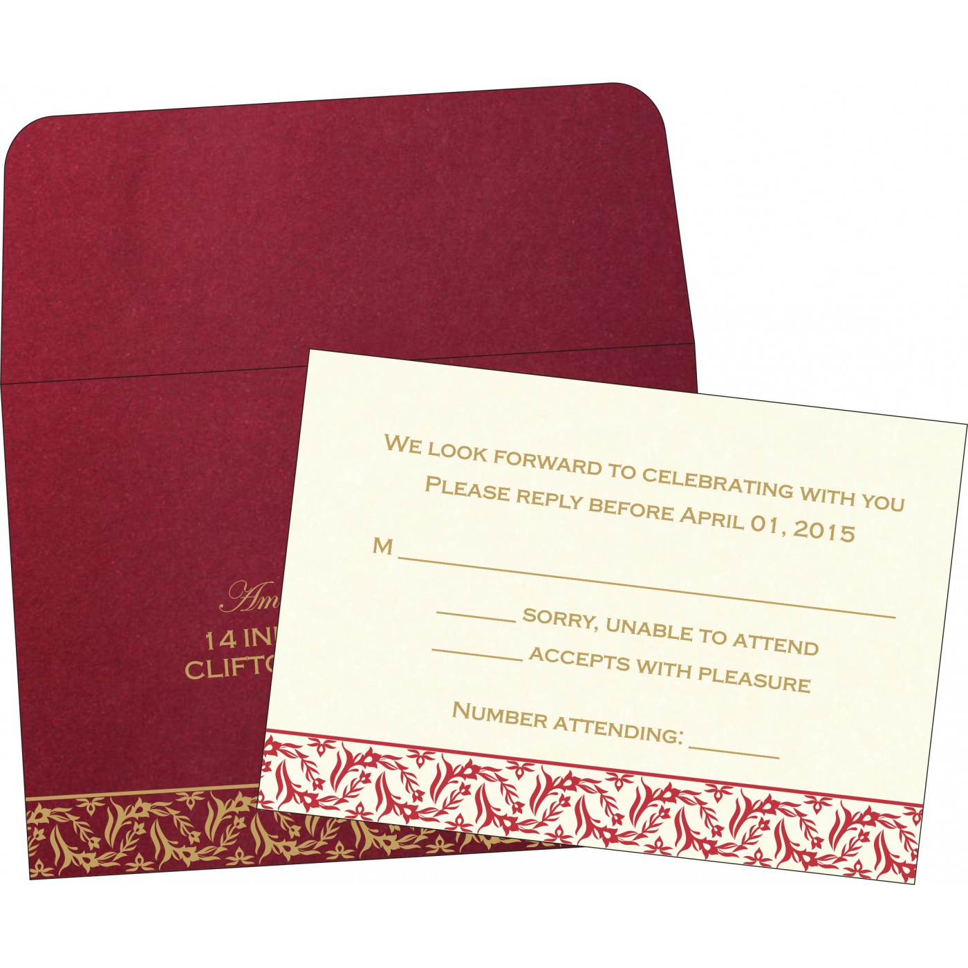 RSVP Cards : CRSVP-8249L - IndianWeddingCards