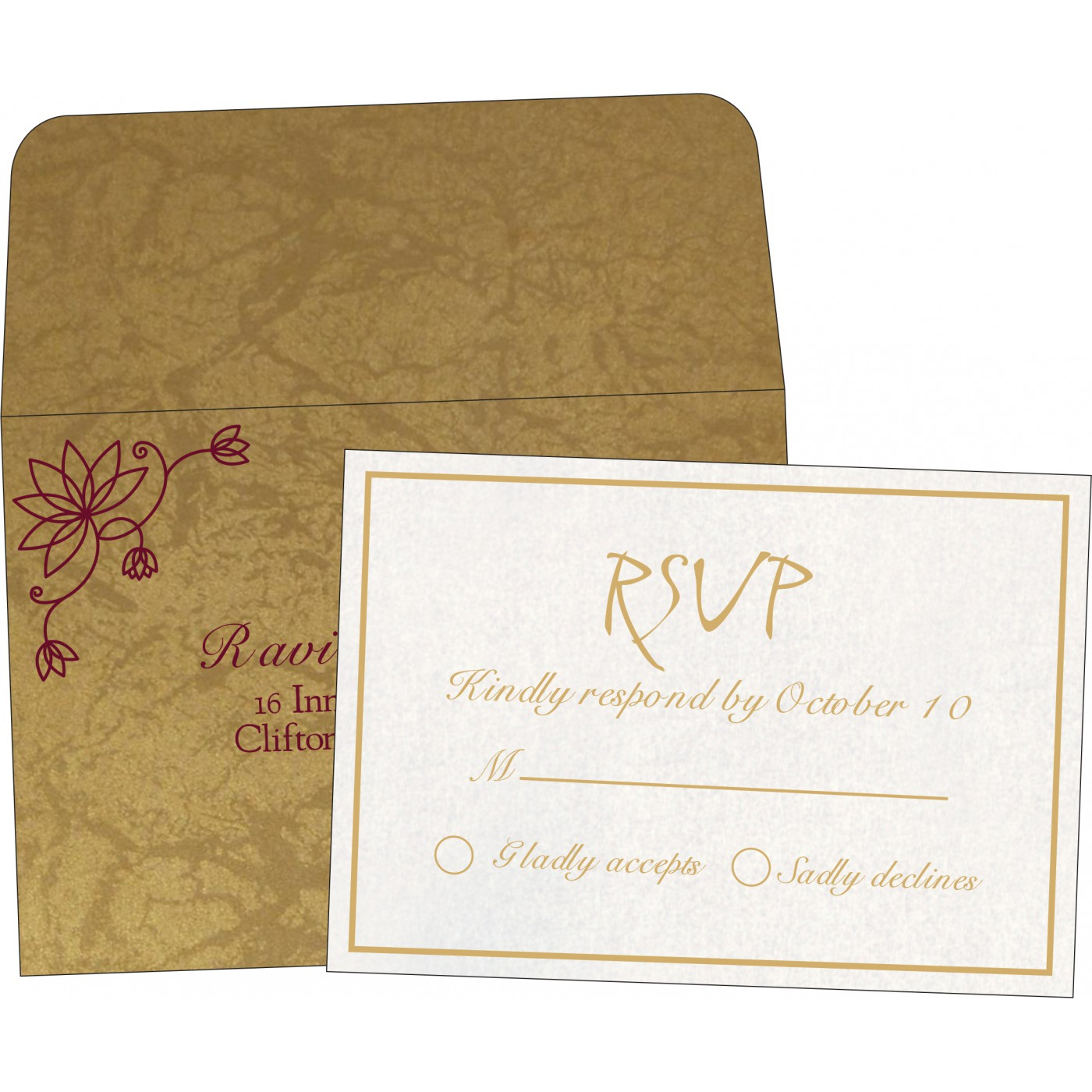 RSVP Cards : CRSVP-8251E - IndianWeddingCards