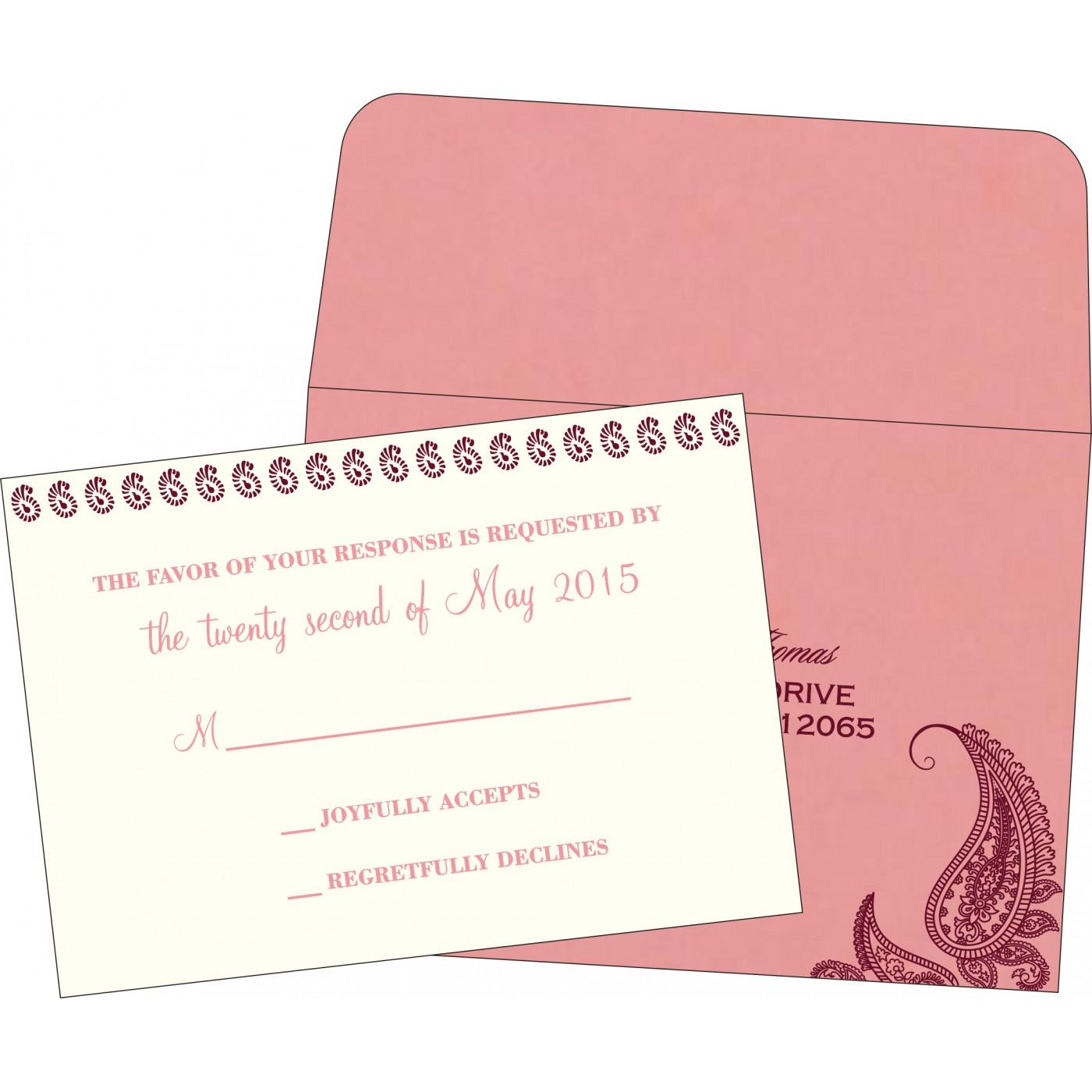 RSVP Cards : CRSVP-8252G - IndianWeddingCards