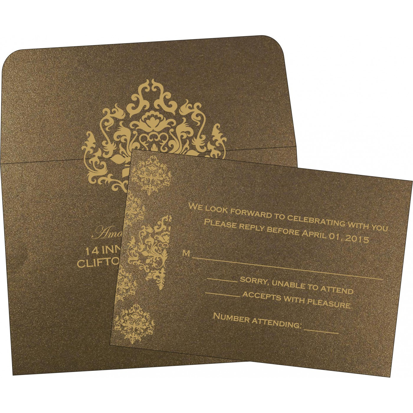 RSVP Cards : CRSVP-8254F - IndianWeddingCards
