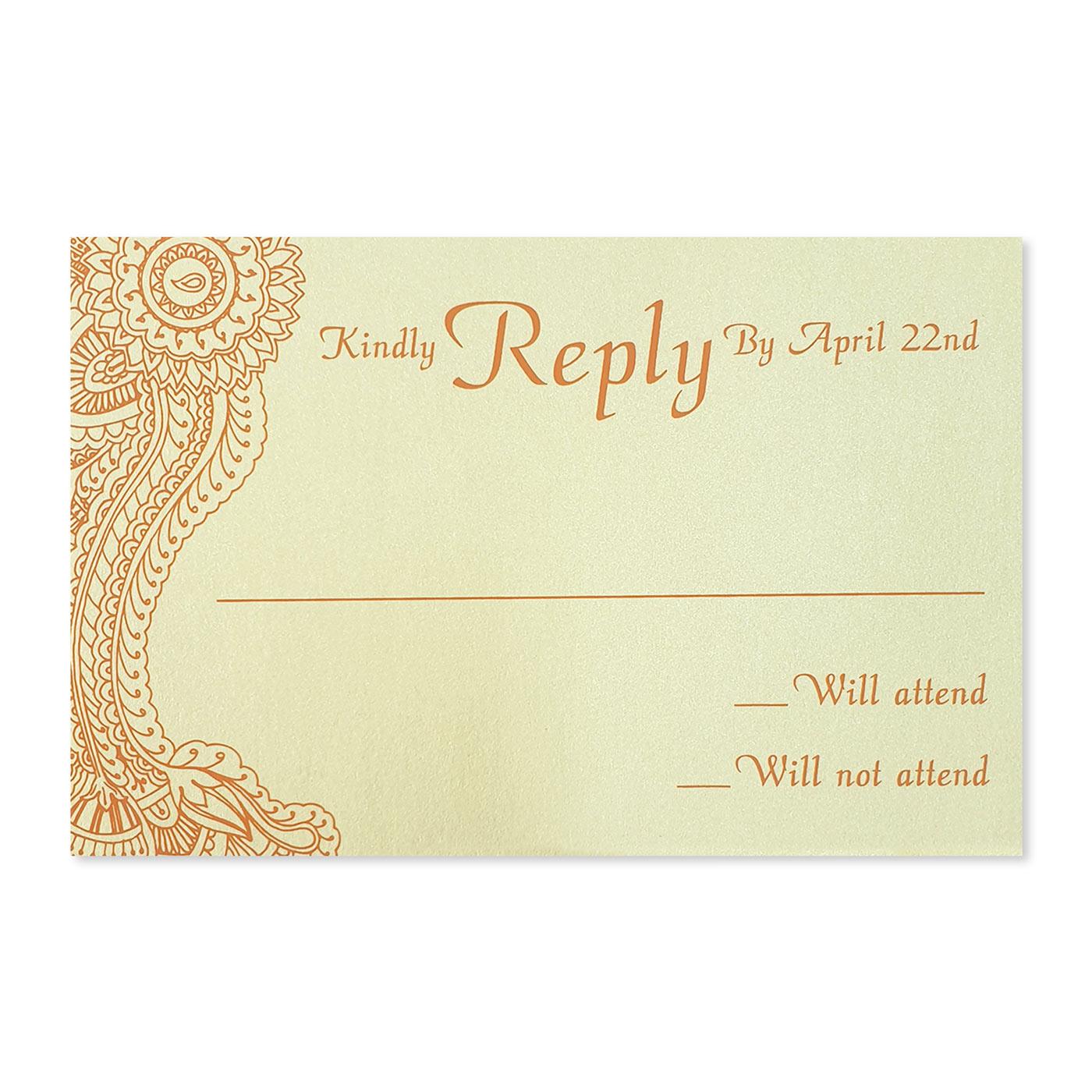 RSVP Cards : CRSVP-ATOMIC_TANGERINE - IndianWeddingCards