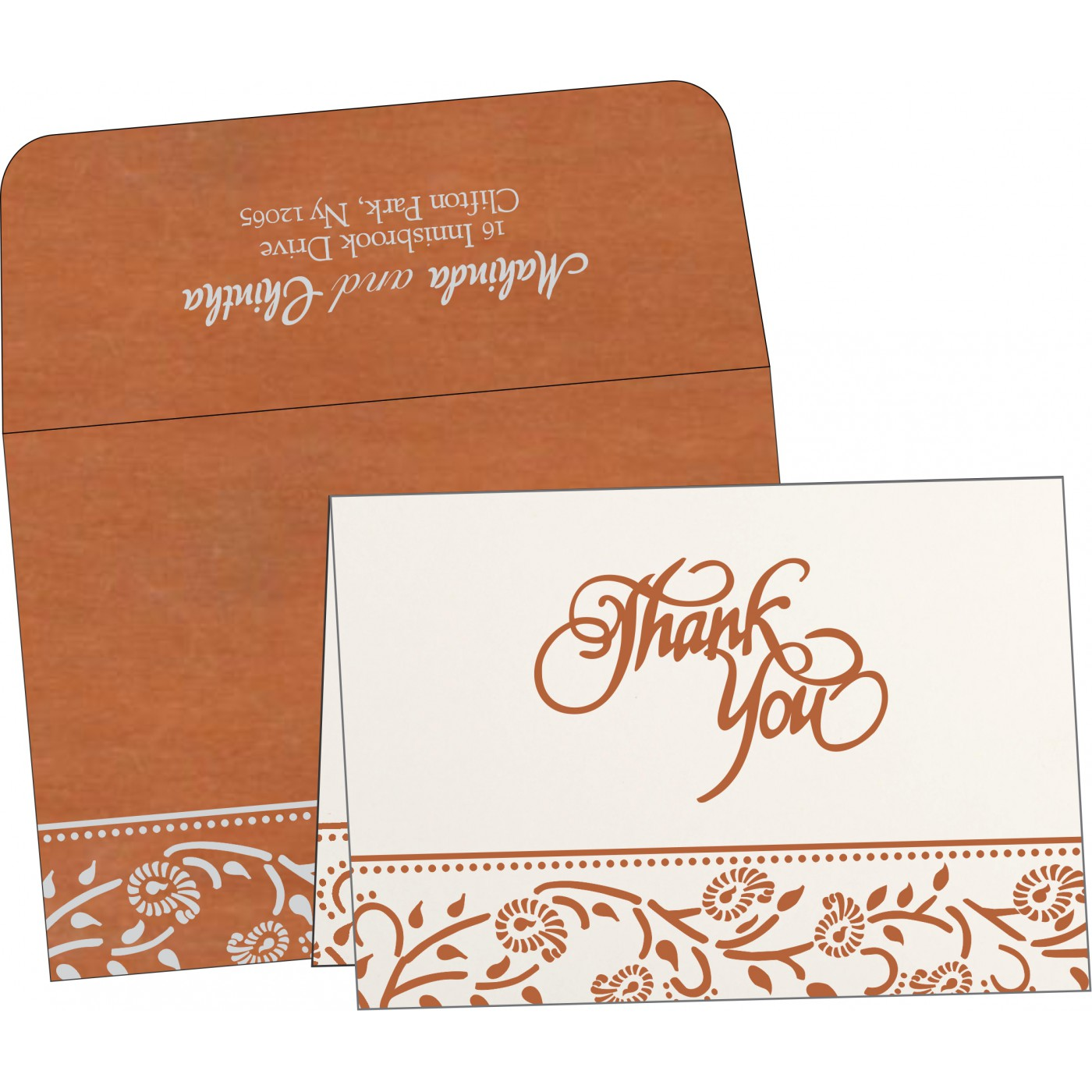Thank You Cards : CTYC-8206G - IndianWeddingCards