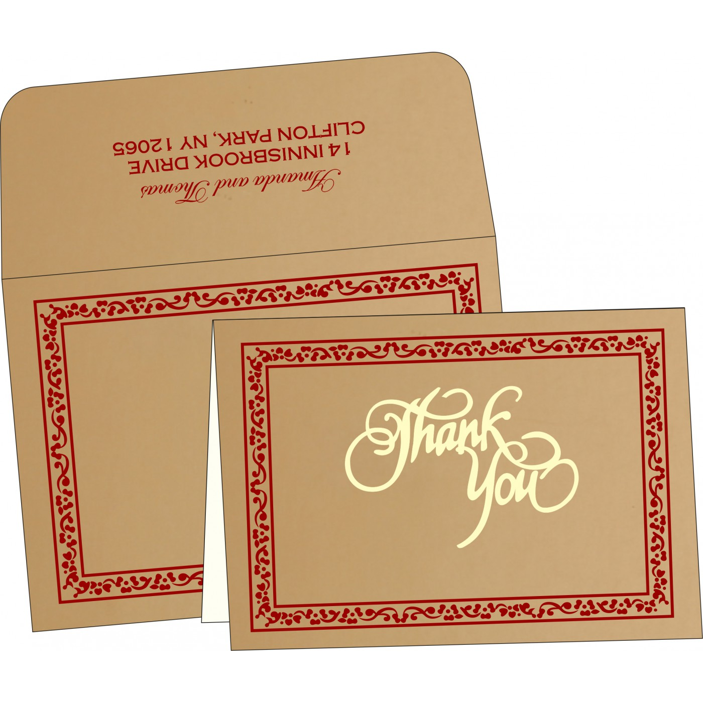 Thank You Cards : CTYC-8214A - IndianWeddingCards