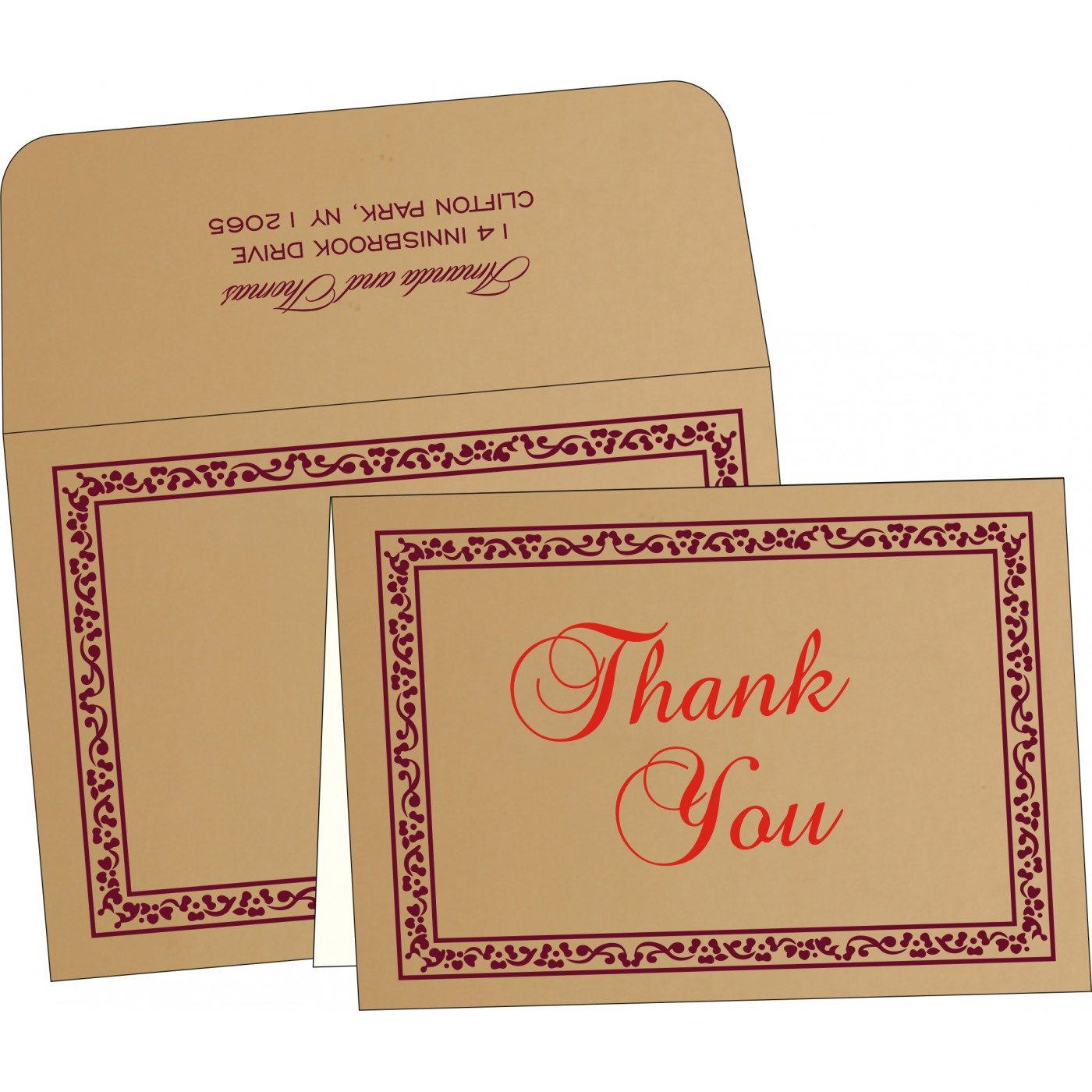 Thank You Cards : CTYC-8214C - IndianWeddingCards