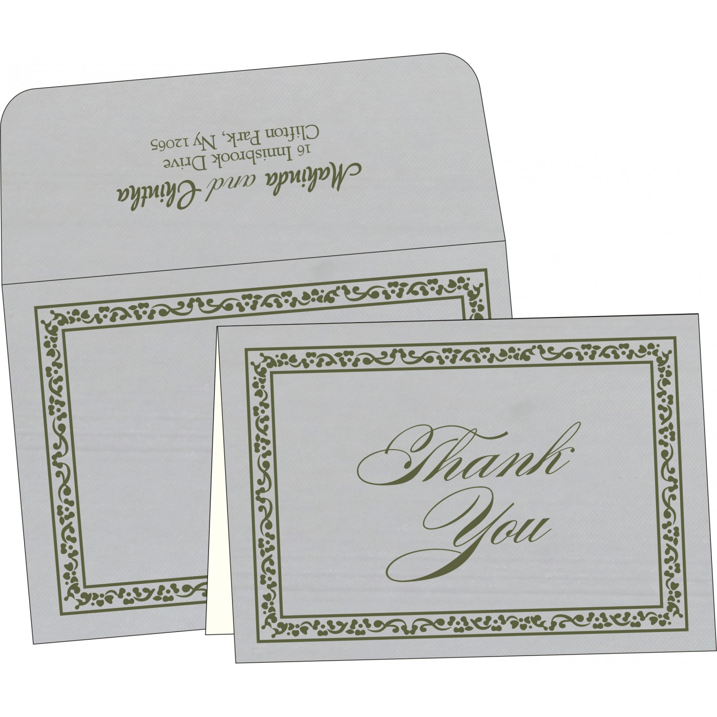Thank You Cards : CTYC-8214L - IndianWeddingCards