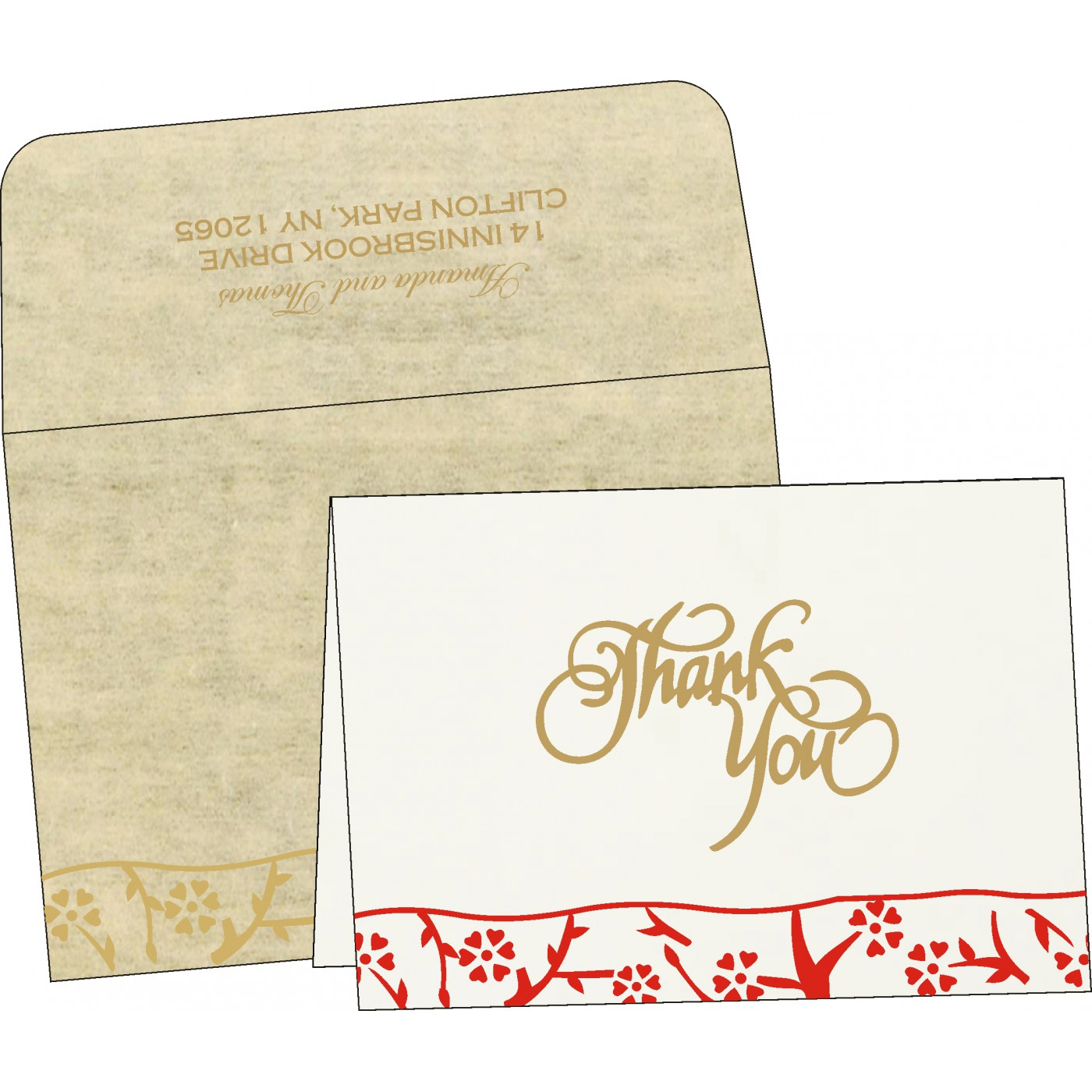 Thank You Cards : CTYC-8216A - IndianWeddingCards