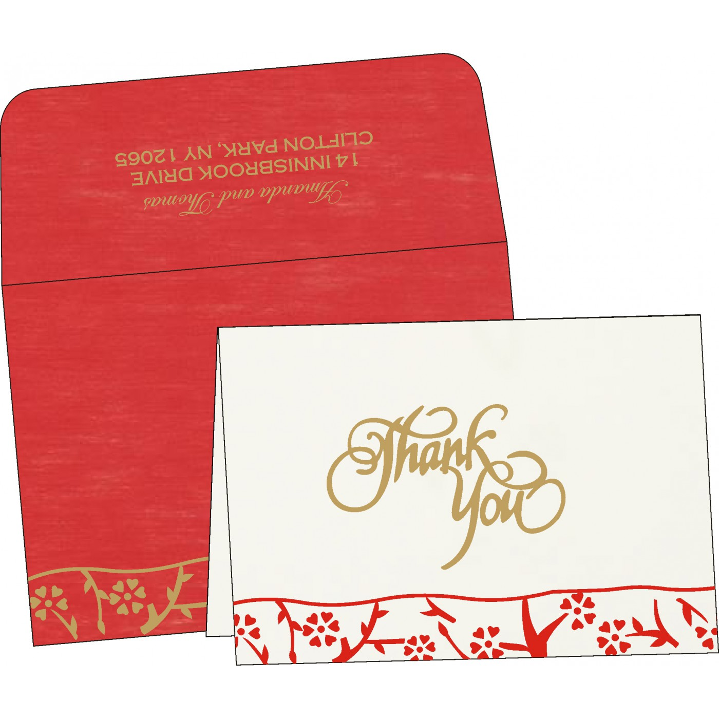 Thank You Cards : CTYC-8216L - IndianWeddingCards