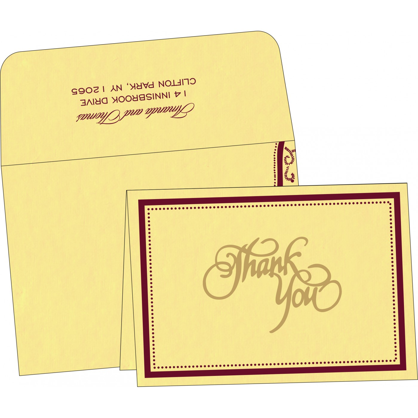 Thank You Cards : CTYC-8219G - IndianWeddingCards