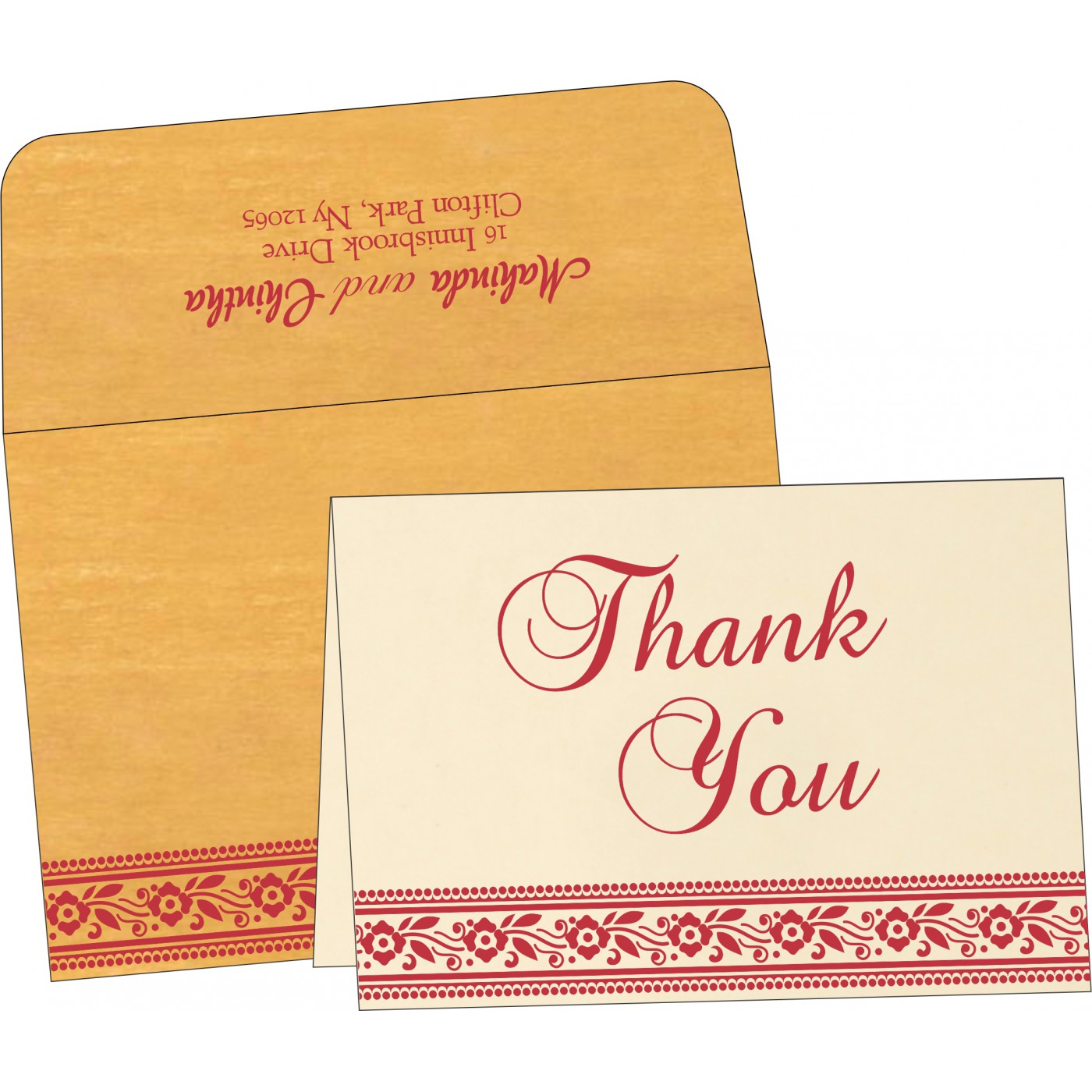 Thank You Cards : CTYC-8220O - IndianWeddingCards