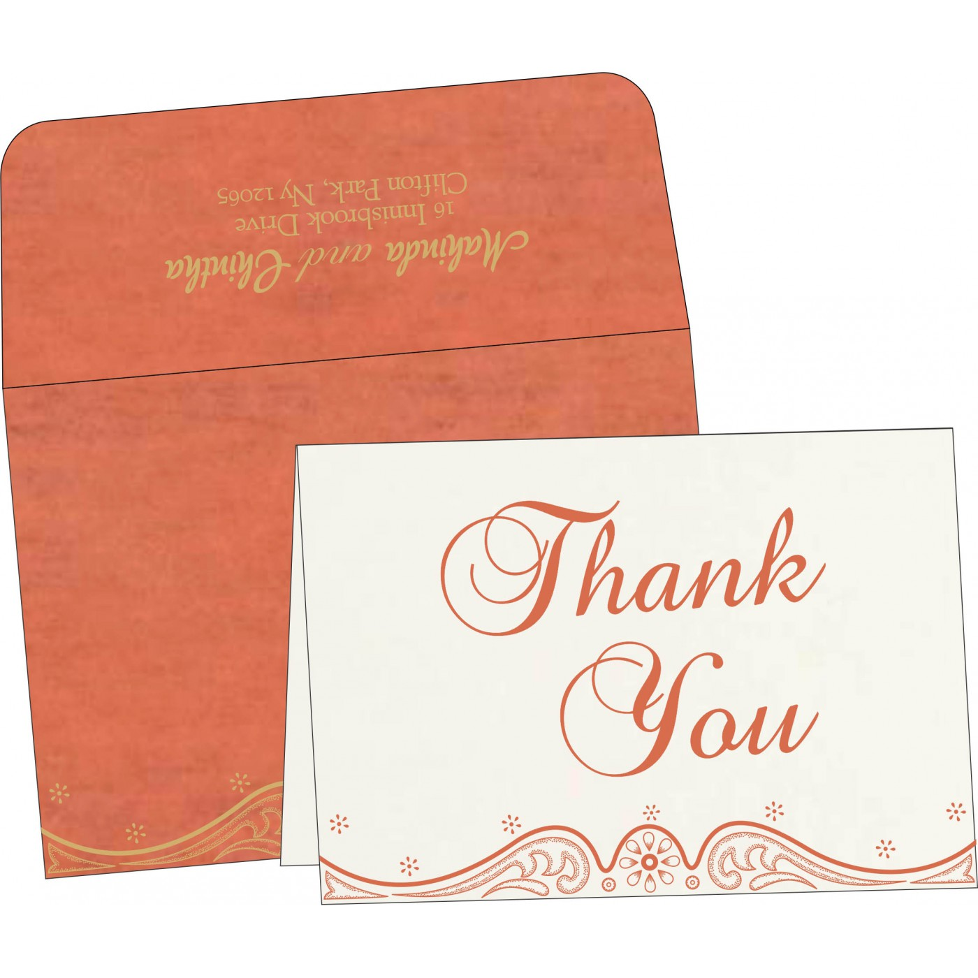 Thank You Cards : CTYC-8221L - IndianWeddingCards