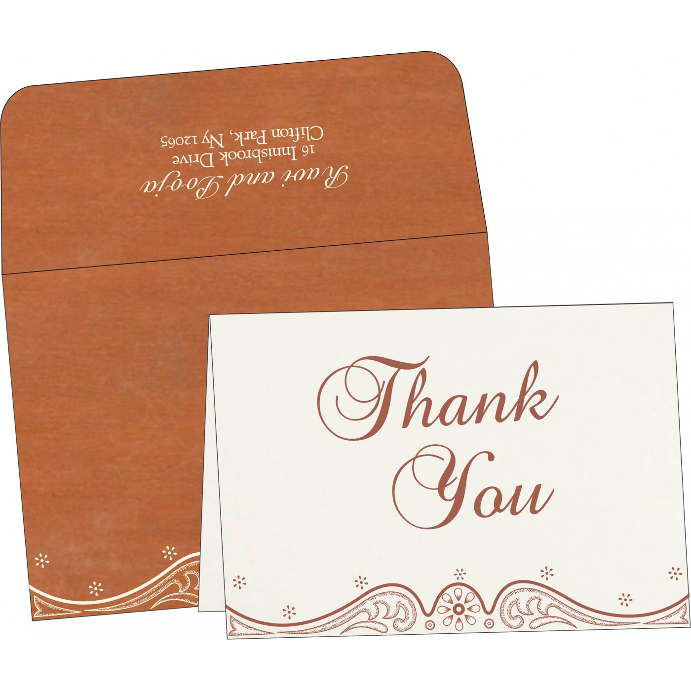Thank You Cards : CTYC-8221O - IndianWeddingCards