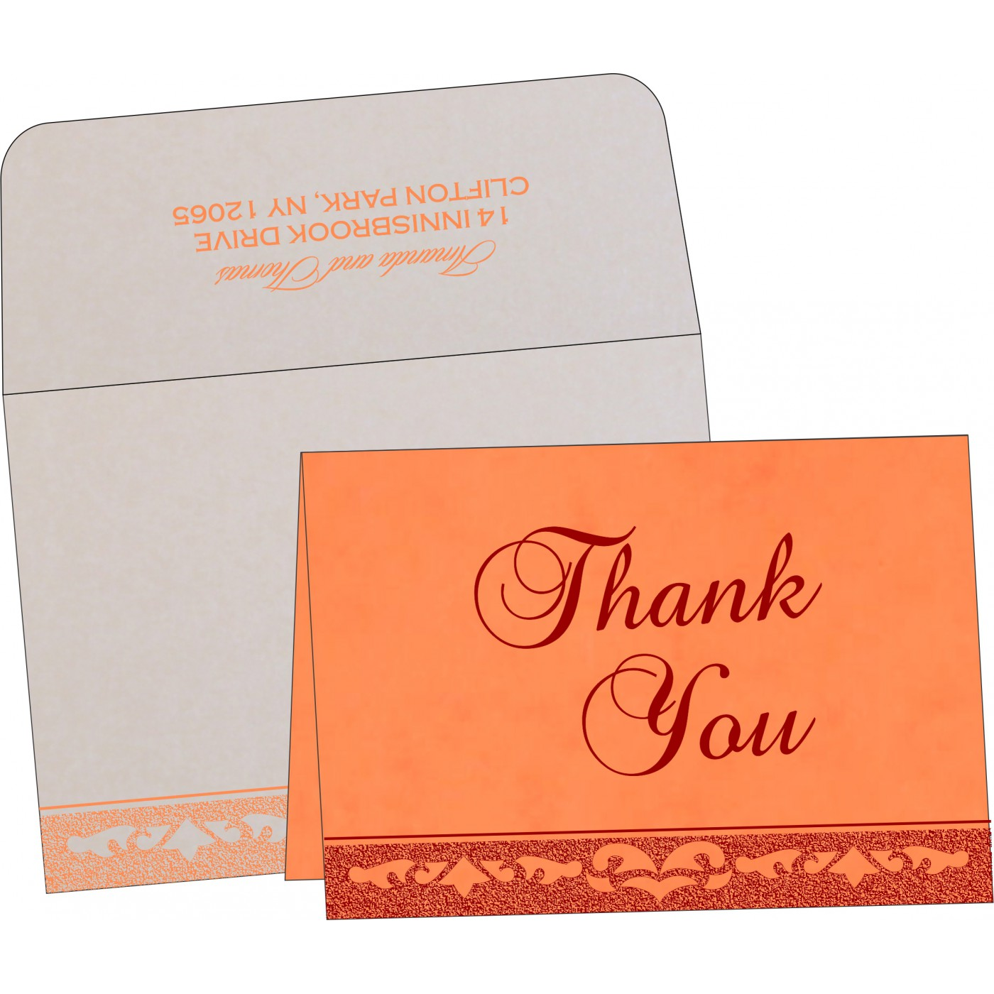 Thank You Cards : CTYC-8227N - IndianWeddingCards