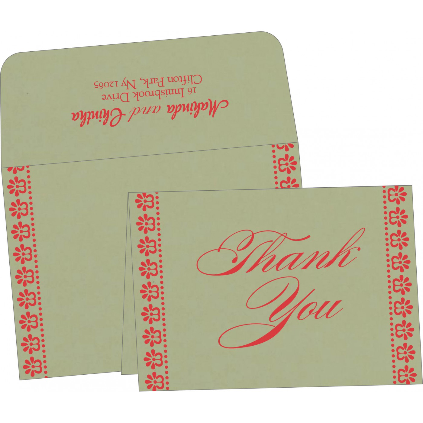 Thank You Cards : CTYC-8231G - IndianWeddingCards