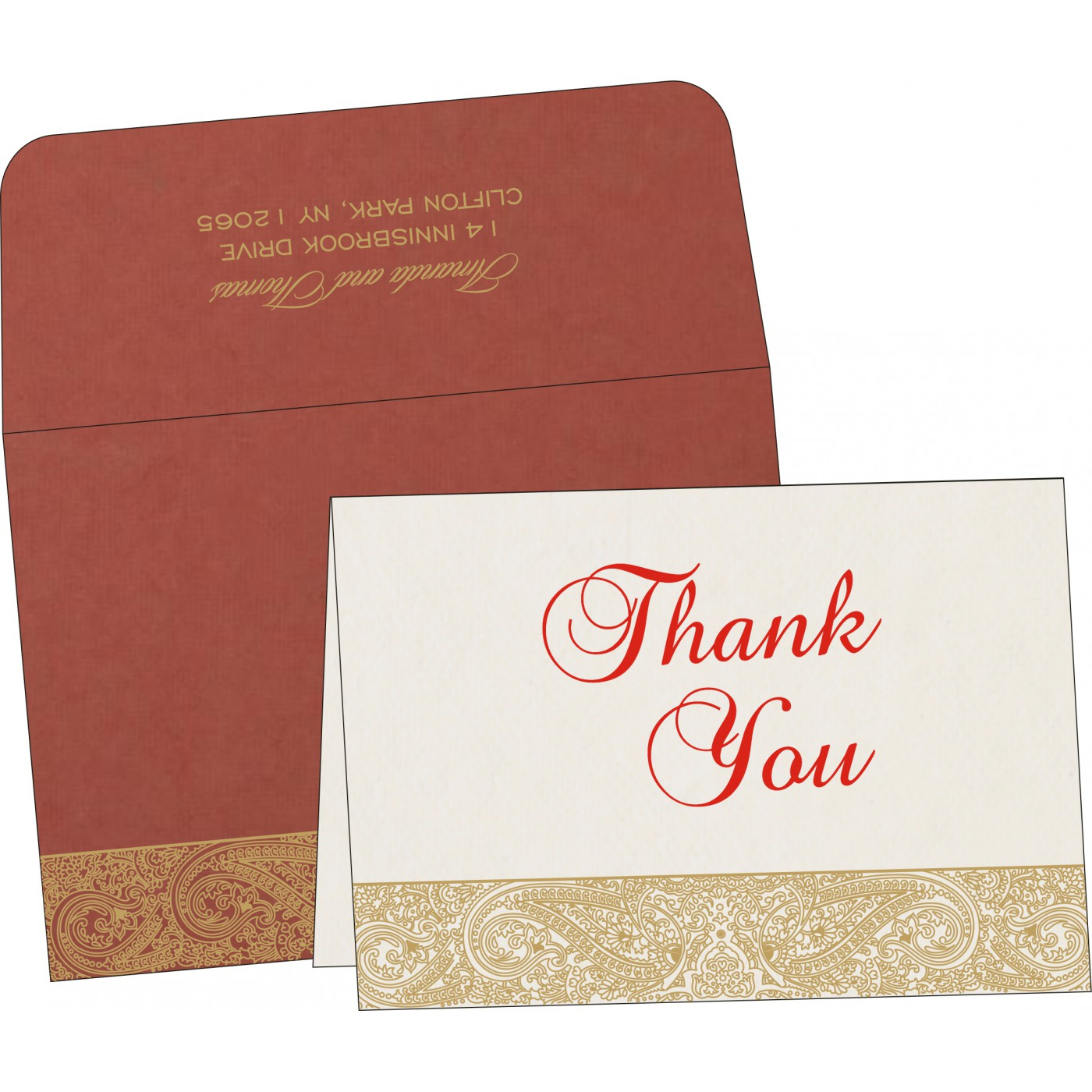 Thank You Cards : CTYC-8234L - IndianWeddingCards