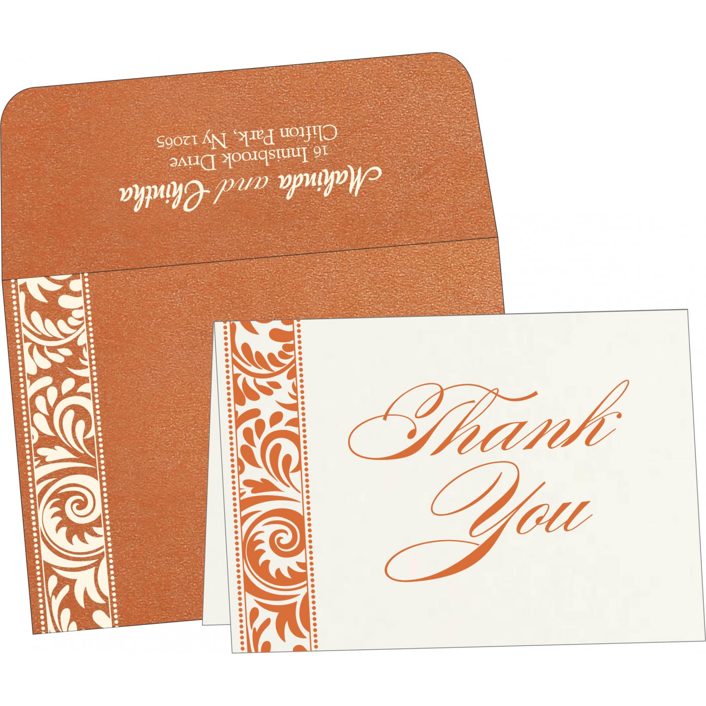 Thank You Cards : CTYC-8235G - IndianWeddingCards