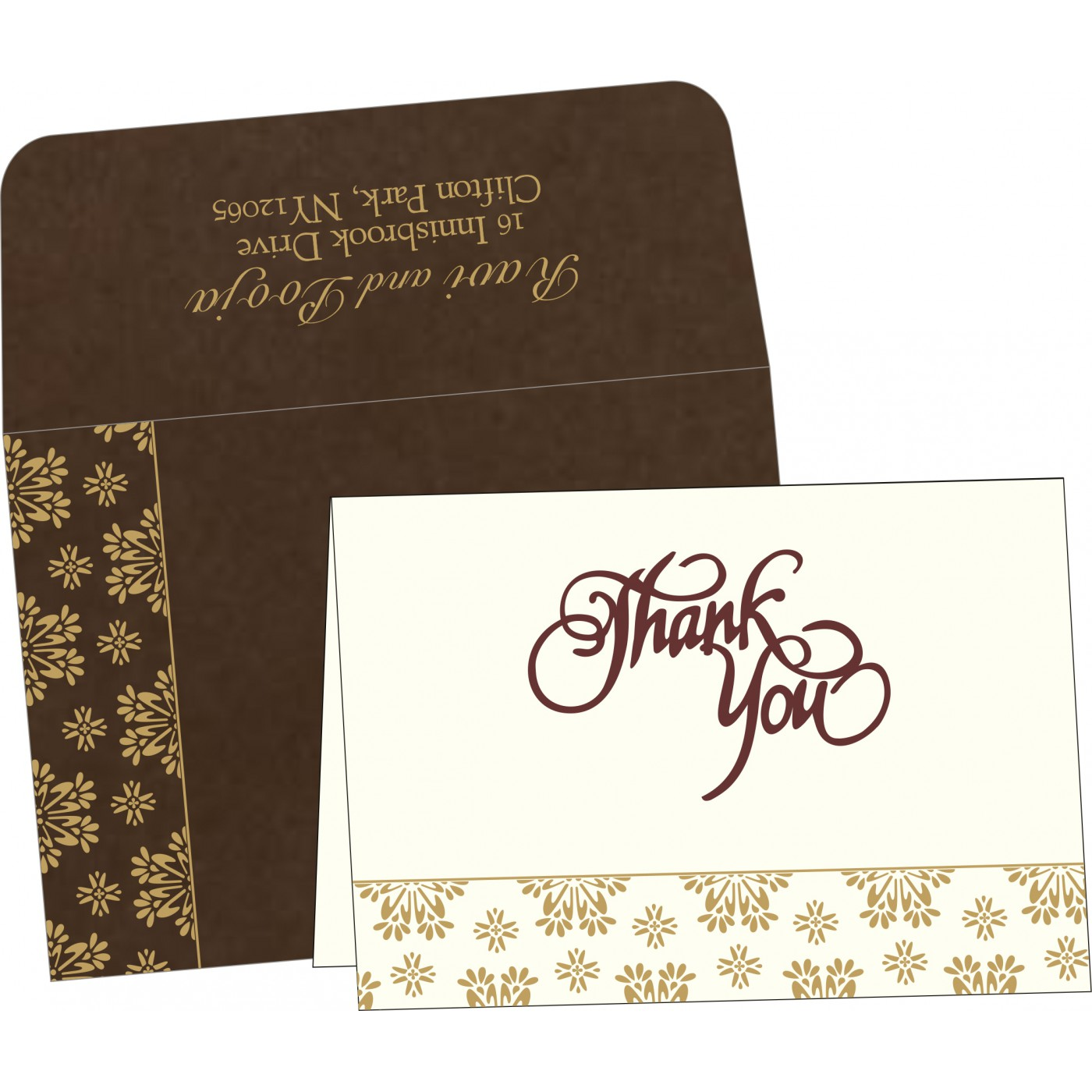 Thank You Cards : CTYC-8237L - IndianWeddingCards