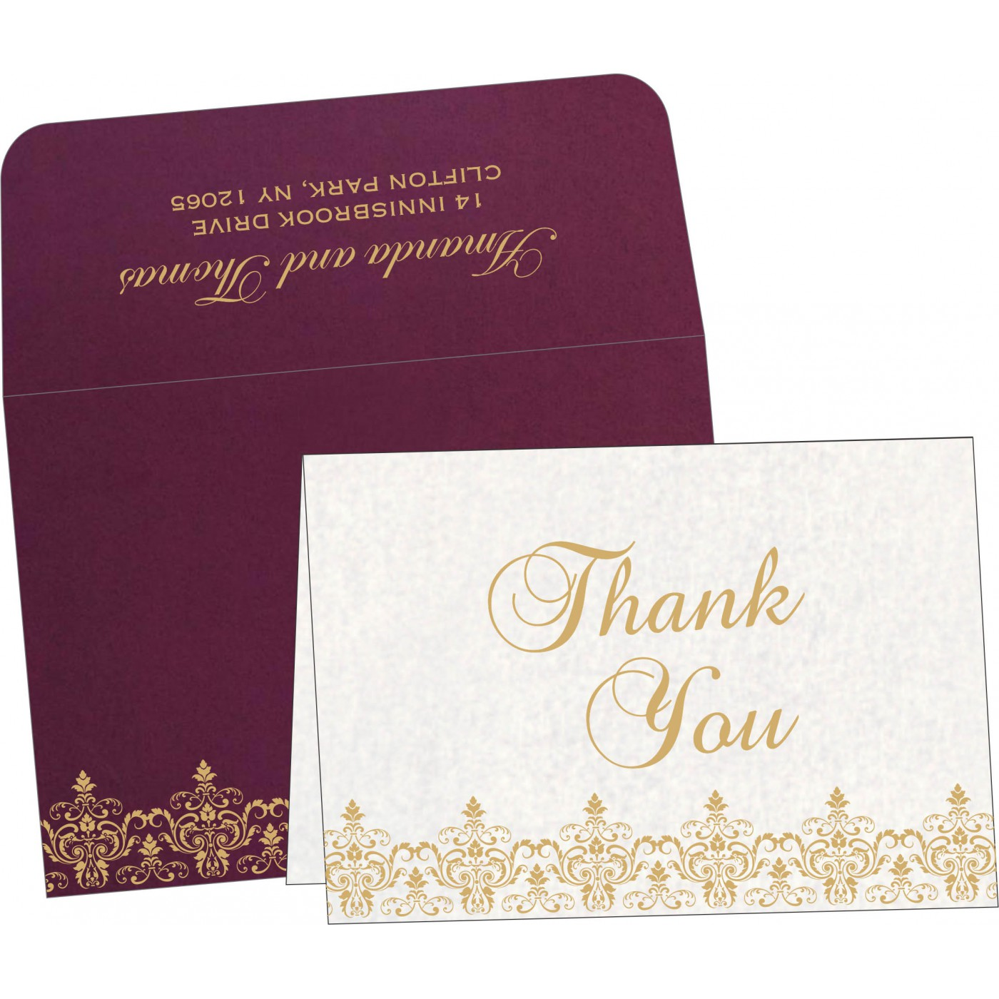 Thank You Cards : CTYC-8244H - IndianWeddingCards