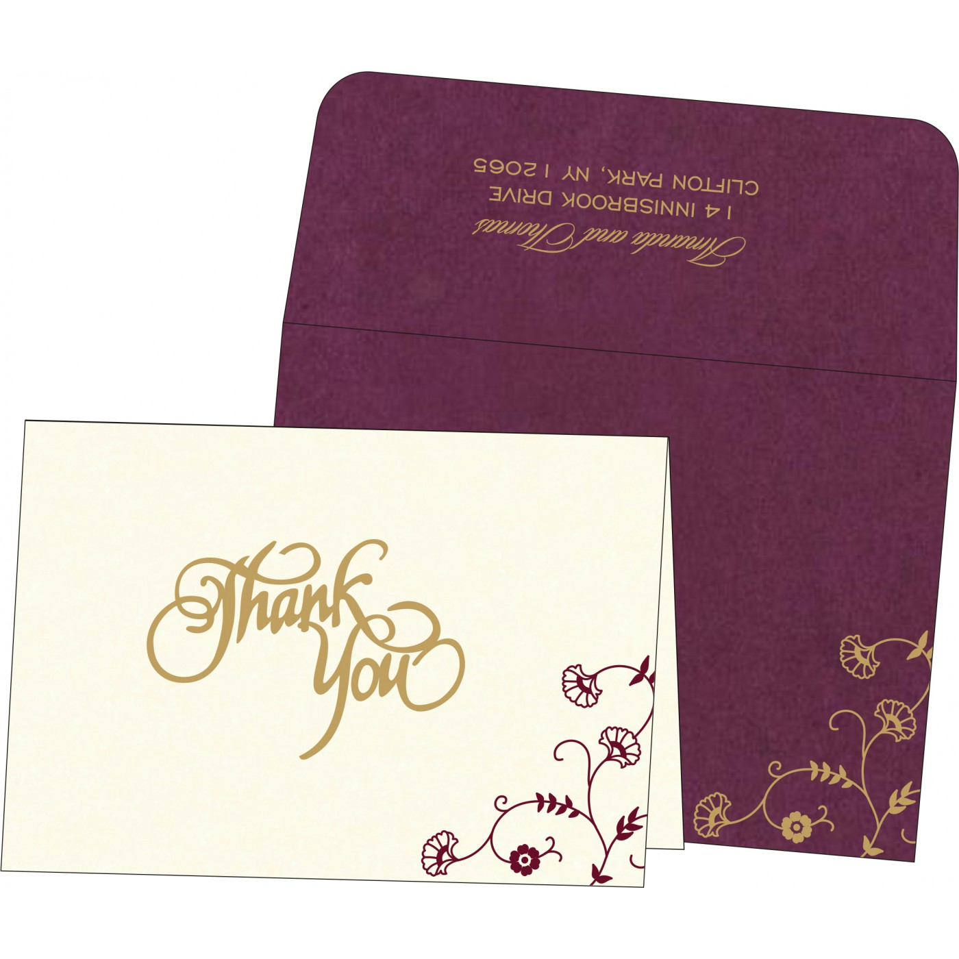 Thank You Cards : CTYC-8248H - IndianWeddingCards