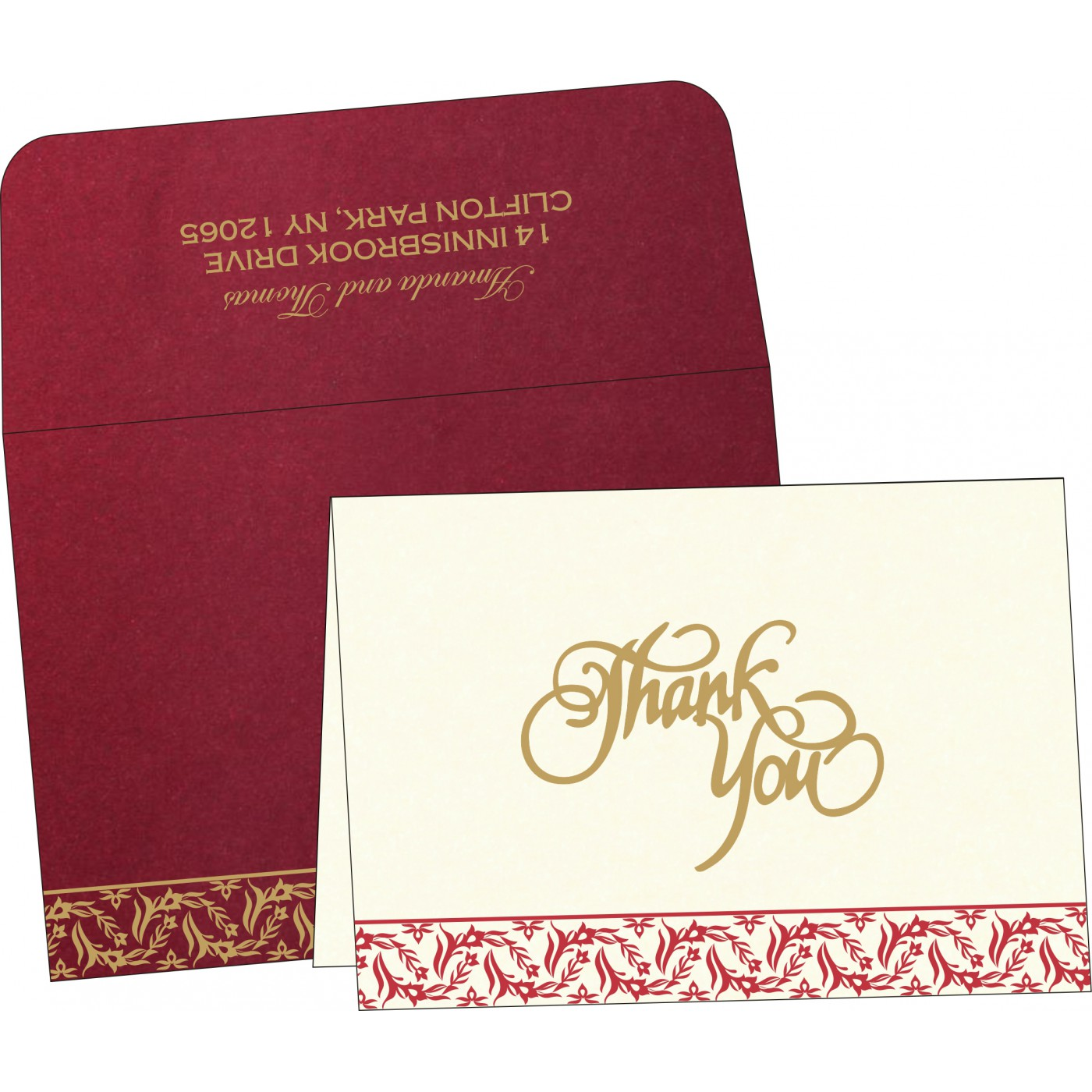 Thank You Cards : CTYC-8249L - IndianWeddingCards