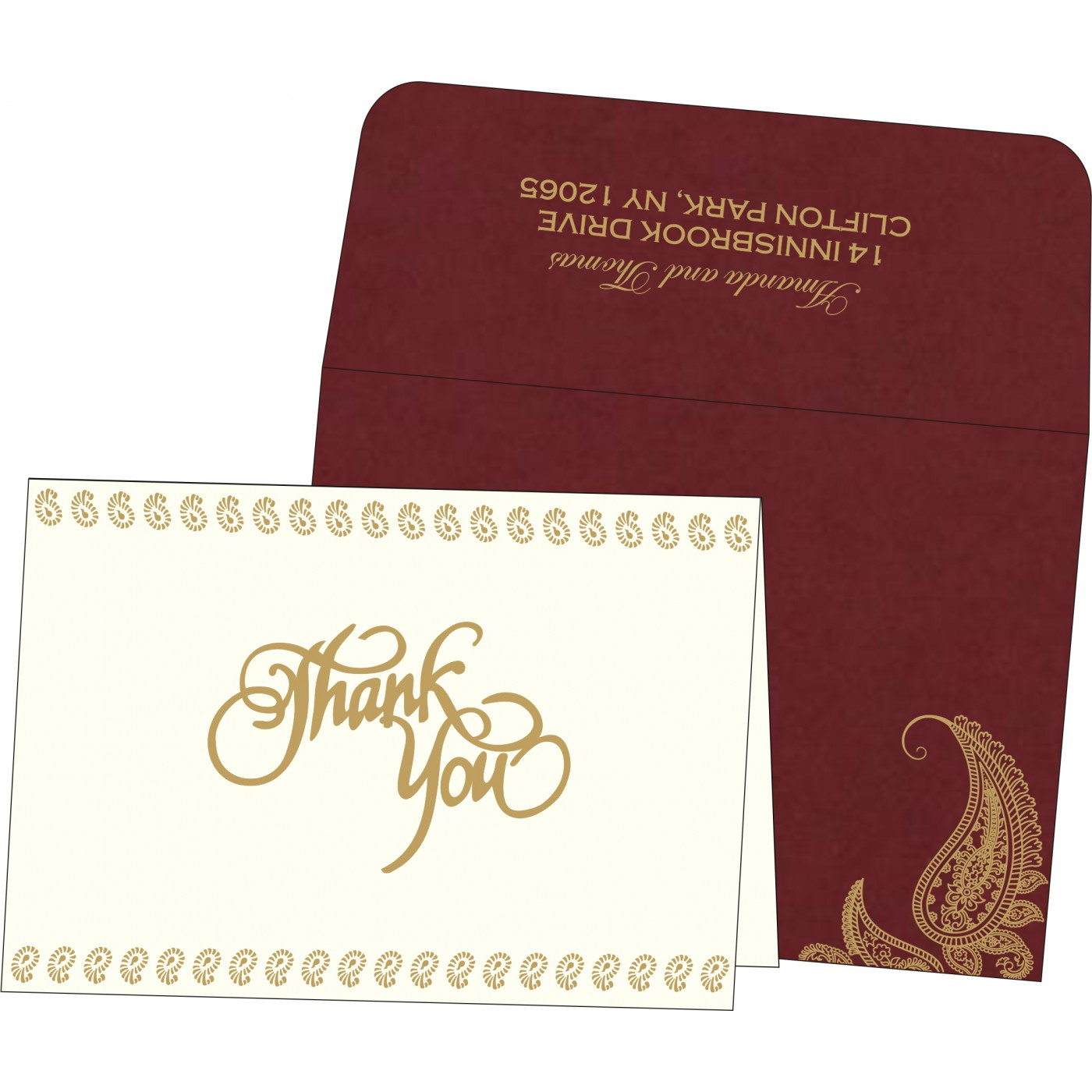 Thank You Cards : CTYC-8252A - IndianWeddingCards