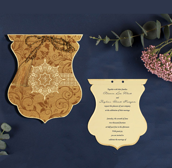 BLUE SHIMMERY SCREEN PRINTED WEDDING INVITATION : CIN-8229O-IndianWeddingCards