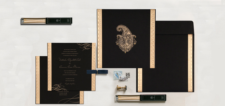 IVORY MATTE PAISLEY THEMED - SCREEN PRINTED WEDDING INVITATION : CIN-8231I-IndianWeddingCards